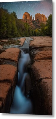 Starry Night Sluice Box Photography At Red Rock Crossing Metal Print by Mike Berenson