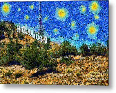 Starry Nights In The Hollywood Hills 5d28482 20141005 Metal Print by Wingsdomain Art and Photography