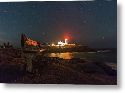 Starry Skies Over Nubble Lighthouse  Metal Print