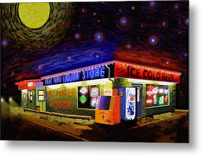 Starry Starry Fly By Nite Drive Thru Liquor Store Metal Print by Robert FERD Frank