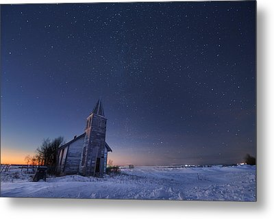 Starry Winter Night Metal Print