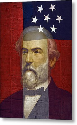Stars And Bars General Lee Metal Print by Daniel Hagerman
