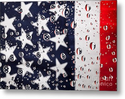 Stars Stripes And Water Drops Metal Print by Sharon Dominick
