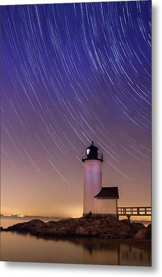 Stars Trailing Over Lighthouse Metal Print by Jeff Folger