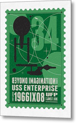 Starschips 34-poststamp - Uss Enterprise Metal Print by Chungkong Art