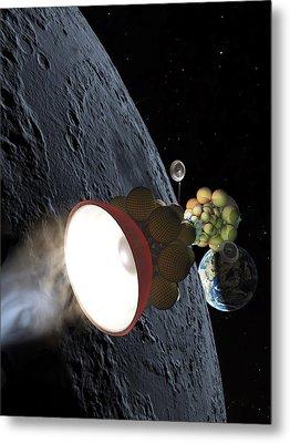 Starship Departing From Lunar Orbit Metal Print by Don Dixon