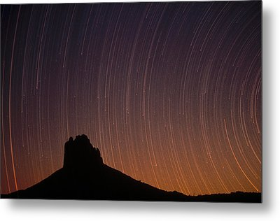 Startrails Over Shiprock In The Four Metal Print by Tim Fitzharris