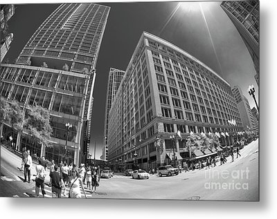 State And Randolph Street At Lunchtime Chicago Il Metal Print by Linda Matlow