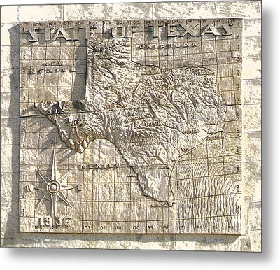 State Of Texas Map  Metal Print by Robert J Sadler