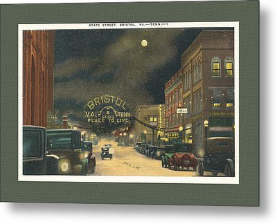 State Street Bristol Va Tn At Night Metal Print