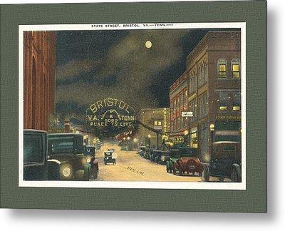 State Street Bristol Va Tn At Night Metal Print by Denise Beverly