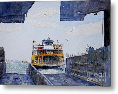 Staten Island Ferry Docking Metal Print by Anthony Butera