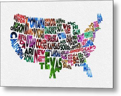 States Of United States Typographic Map Metal Print by Ayse Deniz