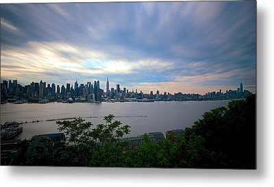Static Skyline Moving Sky Metal Print