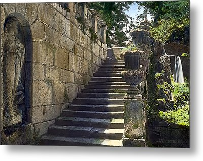 Statue And Stairs Metal Print by Terry Reynoldson
