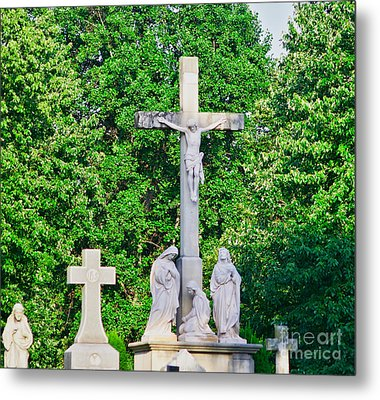 Statue - Crucifix And Crosses - Luther Fine Art Metal Print