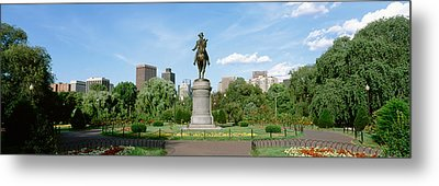 Statue In A Garden, Boston Public Metal Print by Panoramic Images