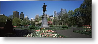 Statue In A Garden Paul Revere Statue Metal Print by Panoramic Images
