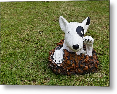 Statue Of A Dog Decorated On The Lawn Metal Print