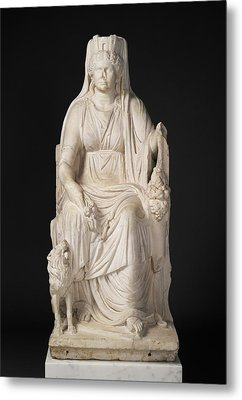 Statue Of A Seated Cybele With The Portrait Head Metal Print by Litz Collection