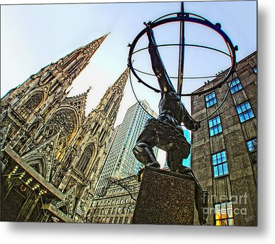 Statue Of Atlas Facing St.patrick's Cathedral Metal Print by Nishanth Gopinathan