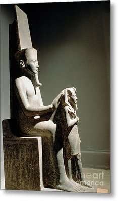 Statue Of King Horemheb With God Amun Metal Print by Adam Sylvester
