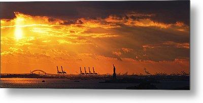 Statue Of Liberty At Sunset. Metal Print