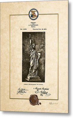 Statue Of Liberty By A. Bartholdi - Vintage Patent Document Metal Print by Serge Averbukh