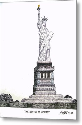 Statue Of Liberty Metal Print by Frederic Kohli