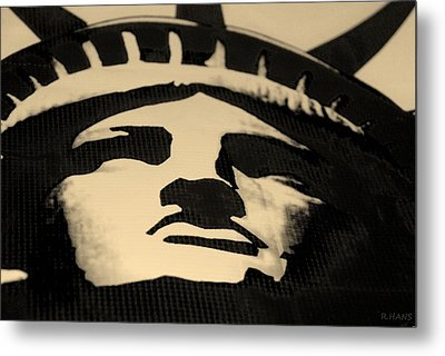 Statue Of Liberty In Dark Sepia Metal Print by Rob Hans