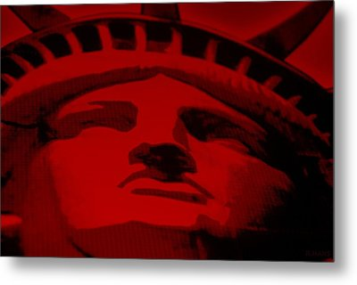 Statue Of Liberty In Red Metal Print by Rob Hans