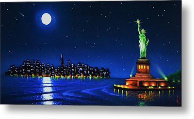 Statue Of Liberty In The Ny Horbor Metal Print