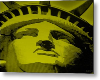 Statue Of Liberty In Yellow Metal Print by Rob Hans