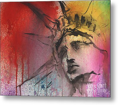 Statue Of Liberty New York Painting Metal Print