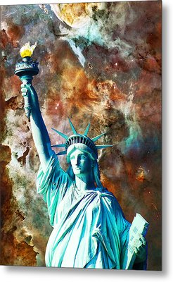 Statue Of Liberty - She Stands Metal Print by Sharon Cummings