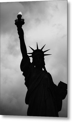 Statue Of Liberty Silhouette Metal Print by Dave Beckerman