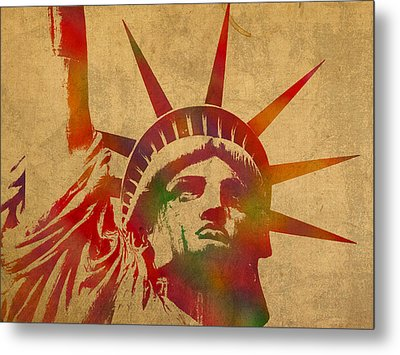Statue Of Liberty Watercolor Portrait No 2 Metal Print by Design Turnpike
