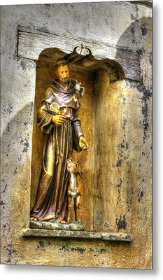 Statue Of Saint Francis Of Assisi - Alcove In The Gardens Of The Carmel Mission Metal Print by Michael Mazaika