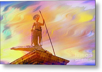 Statue Of St. Theodor Venice Italy - 2 Metal Print