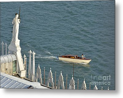 Statues Of Doges Palace Facing The Lagoon Metal Print by Sami Sarkis