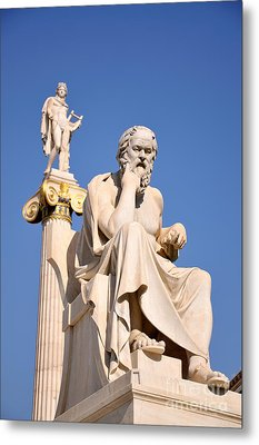 Statues Of Socrates And Apollo Metal Print