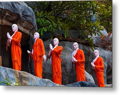 Statues Of The Buddhist Monks At Golden Temple Metal Print by Jenny Rainbow