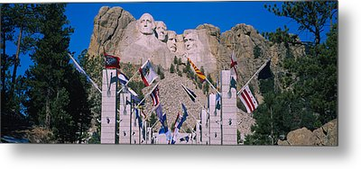 Statues On A Mountain, Mt Rushmore, Mt Metal Print by Panoramic Images