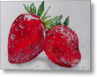 Stawberries Metal Print by Marisela Mungia