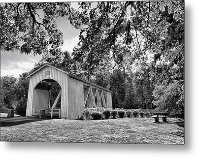 Stayton-jordan Covered Bridge Black And White Metal Print