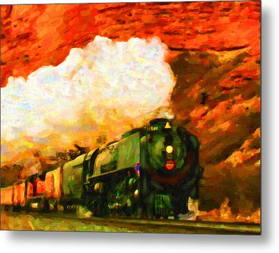 Metal Print featuring the digital art Steam And Sandstone by Chuck Mountain