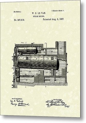 Steam Boiler 1887 Patent Art Metal Print by Prior Art Design