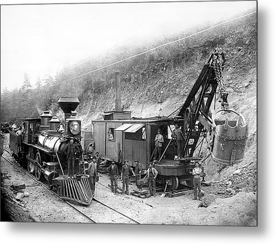 Steam Locomotive And Steam Shovel 1882 Metal Print by Daniel Hagerman