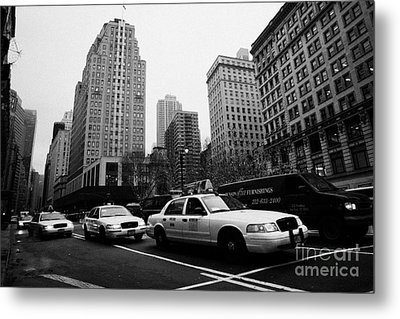 Steam Of Yellow Cabs With Headlights On Heading Down Broadway At Herald Square Outside Macys Nyc Usa Metal Print by Joe Fox