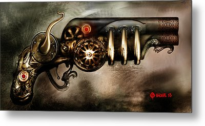 Steam Punk Pistol Mk II Metal Print by Kim Gauge